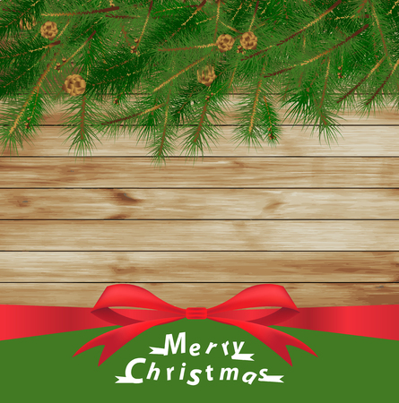 Vector christmas tree on wood texture background Vector