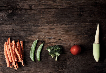 Still life with vegetables on wooden    photo