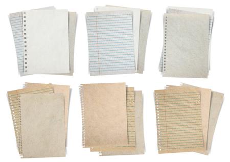 종이 시트, 종이의 스택, 종이 및 흰색 배경에 고립 된 메모 용지는 디자인 작업에 대한 클리핑 패스와 함께 개체 지어 스톡 콘텐츠