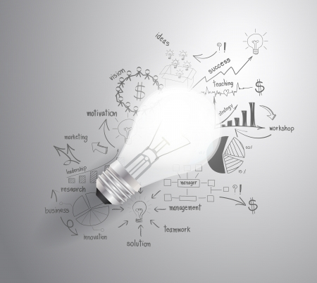 Żarówka z sukcesem biznes rysunek planu strategicznego pomysłu, inspiracji koncepcji nowoczesny układ szablon przepływu pracy, schemat, Step Up opcje, ilustracji wektorowych Ilustracje wektorowe