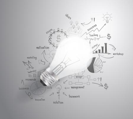ビジネスの成功戦略計画のアイデア、インスピレーションの概念モダンなデザイン テンプレート ワークフロー レイアウト、図を図面と電球の光、  イラスト・ベクター素材