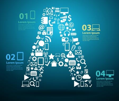 Les icônes d'application alphabet lettres Une conception, logiciels de gestion de la technologie et des médias sociaux en réseau en ligne de concept, illustration vectorielle conception de modèle moderne