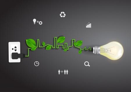 eco: Light bulb eco concept idea, Vector illustration modern template design