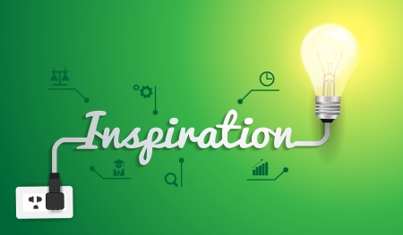 Inspiration concept with light bulb idea modern design template, Vector illustration Vector
