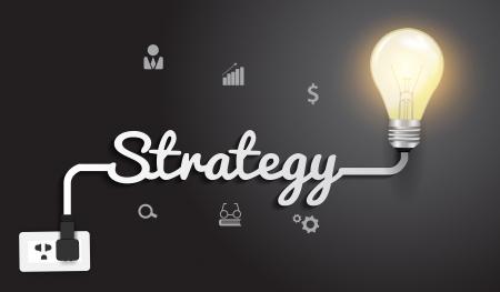 future advertising: Strategy concept with creative light bulb idea modern design template, Vector illustration   Illustration