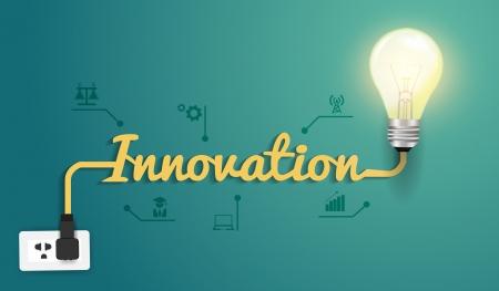 Innovatie concept met creatieve gloeilamp idee, Vector illustratie modern design template