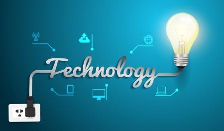 Technology concept with creative light bulb idea modern design template, Vector illustration