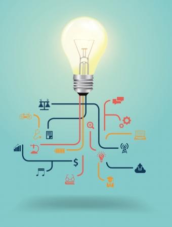 computer art: Creative light bulb with education icon concept design, Vector illustration template design