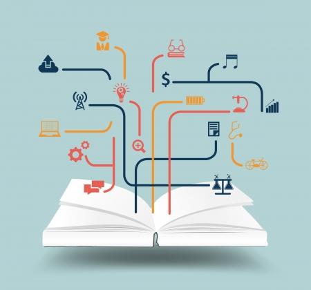 onderzoek: Met onderwijs pictogram idee concept, Vector, illustratie, modern design template open boek