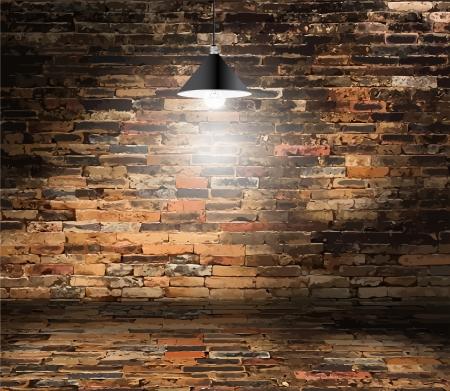 レンガの壁の部屋、天井ランプ、グランジ レトロ ビンテージ インテリア、ベクトルの背景