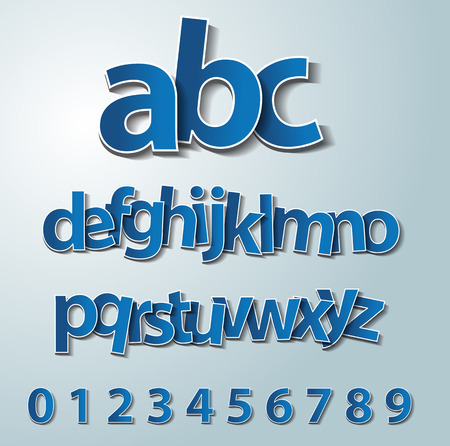 retro font: Vector alphabet set, paper, stickers, labels, tags