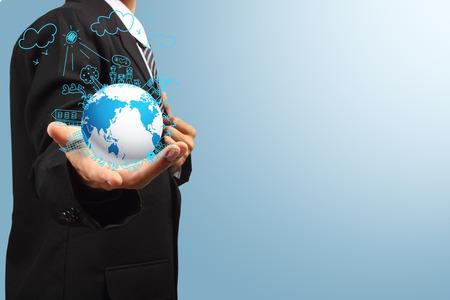 gente exitosa: La celebración de globo, Ecología concepto creativo dibujo sobre el medio ambiente global, con historias de la familia feliz idea de concepto Foto de archivo