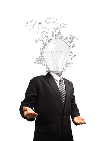 Businessman with lamp head, Ecology concept creative drawing on global environment with happy family stories concept idea photo
