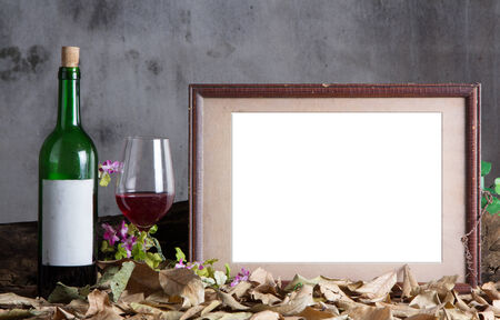 Photo frame with red wine bottle and wine glass photo