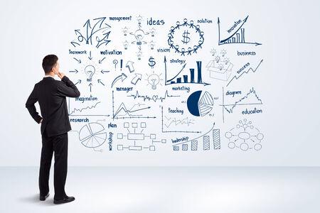 미래 창조 그리기 차트 및 그래프 비즈니스 성공 전략 계획 아이디어를 찾고 사업가