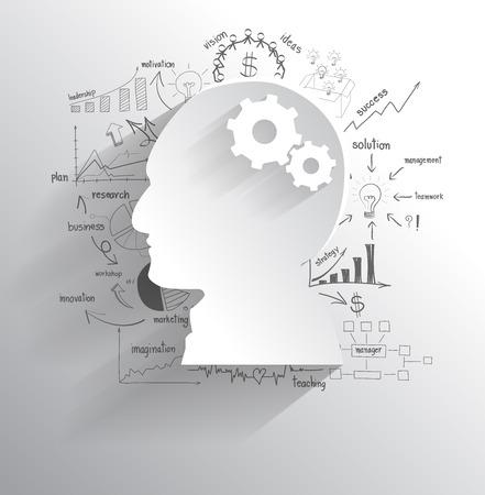 Tête humaine avec jeu d'engrenages comme une idée du cerveau, avec le dessin créatif business plan de stratégie de succès idée