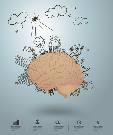 Ecology concept, Creative drawing on brain environment with happy family stories concept idea Ilustração
