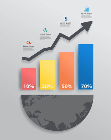 Modern design graph with columns and arrow business steps to success concept idea Vector