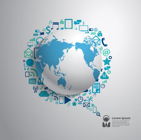 응용 프로그램 아이콘, 비즈니스 소프트웨어 및 소셜 미디어 네트워킹 서비스 개념을 가진 세계 글로브