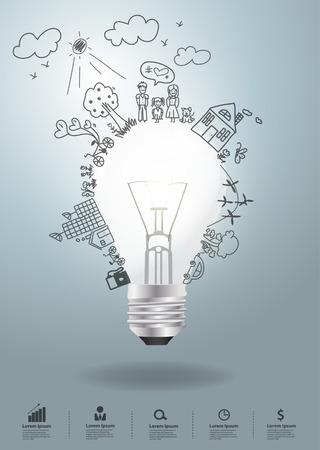 niños escribiendo: Idea de la bombilla con el entorno gráfico creativo concepto de la ecología
