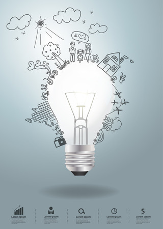 idea lamp: Light bulb idea with creative drawing environment ecology concept
