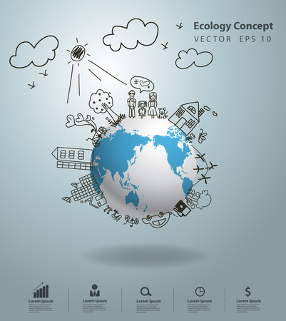 save earth: Ecology concept, Creative drawing on global environment with happy family stories concept idea