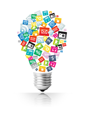 Creative light bulb with cloud of colorful application icon