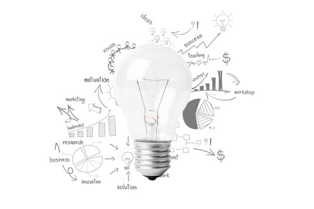 Creative light bulb idea with drawing business success strategy plan