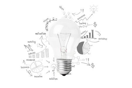 Lumière créatrice idée de l'ampoule avec le plan dessin entreprise de stratégie de réussite Banque d'images