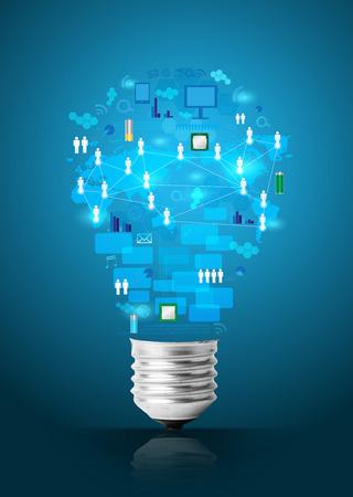 기술 사업 네트워크 프로세스 다이어그램 개념 아이디어와 창조적 인 전구