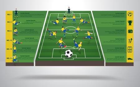 campo di calcio: Brasiliano giocatore di calcio calcio in diverse posizioni, Campo di calcio sfondo, icone di calcio, moderno modello di infografica identity design, il layout, banner, schema, opzioni, illustrazione vettoriale Vettoriali