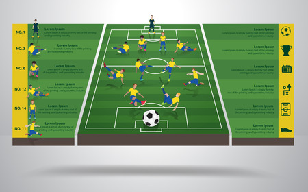 Brazilian soccer football player in different positions, Soccer field background, Soccer Icons, Modern infographics design identity template, layout, banner, diagram, options, Vector illustration