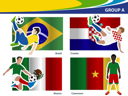 football players: Soccer football players, Brazil 2014 group A Vector illustration