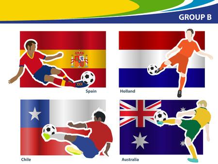 Soccer football players, Brazil 2014 group B Vector illustration