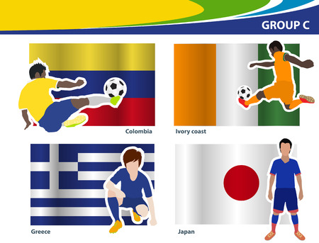 football players: Soccer football players, Brazil 2014 group C Vector illustration