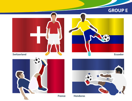 football players: Soccer football players, Brazil 2014 group E Vector illustration