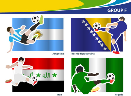 Soccer football players, Brazil 2014 group F Vector illustration Vector