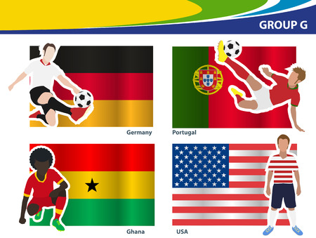 football players: Soccer football players, Brazil 2014 group G Vector illustration Illustration