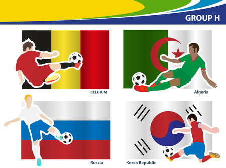 football players: Soccer football players, Brazil 2014 group H Vector illustration