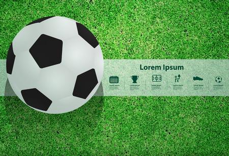 campeonato de futbol: Bal�n de f�tbol en el campo, ilustraci�n vectorial plantilla de dise�o