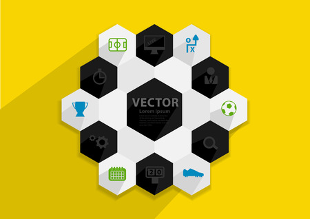 goal cage: Flat design vector stylish illustration concept with icons of soccer ball sign and symbol, Vector illustration template design
