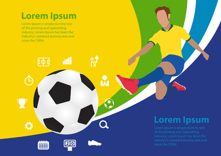 Soccer poster brasil, vector illustration template design Vector