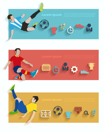 kickball: Flat design vector stylish illustration concept with icons of soccer players sign and symbol, Vector illustration modern template design