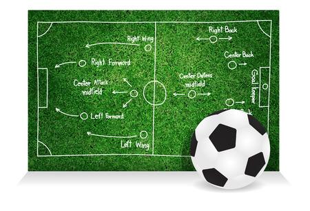 tactics: Soccer tactics and strategies, Creative drawing soccer game success strategy plan idea vector illustration template design