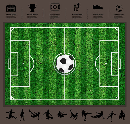 Vector soccer ball on the field, Soccer Icons set, With various isolated poses of soccer players in silhouettes, Modern design template workflow layout, diagram, step up options Vector