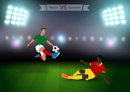 football players: Two football players in jump to strike the ball at the stadium, Soccer players mexico versus cameroon, Brazil 2014 group A Vector illustration modern design template Illustration