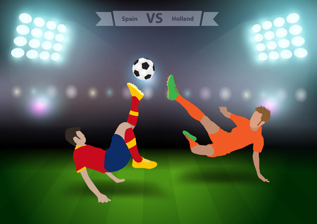 football players: Two football players in jump to strike the ball at the stadium, Soccer players spain versus holland, Brazil 2014 group B Vector illustration modern design template