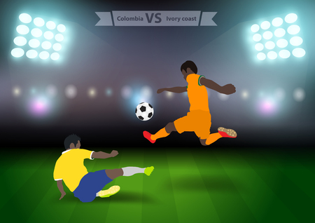 football players: Two football players in jump to strike the ball at the stadium, Soccer players colombia versus ivory coast, Brazil 2014 group C Vector illustration modern design template Illustration