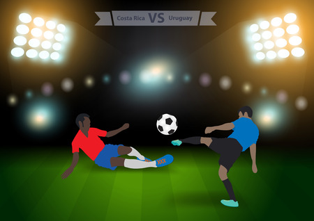 football players: Two football players in jump to strike the ball at the stadium, Soccer players costa rica versus uruguay, Brazil 2014 group A Vector illustration modern design template Illustration