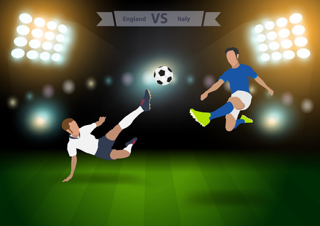 football players: Two football players in jump to strike the ball at the stadium, Soccer players england versus italy, Brazil 2014 group A Vector illustration modern design template